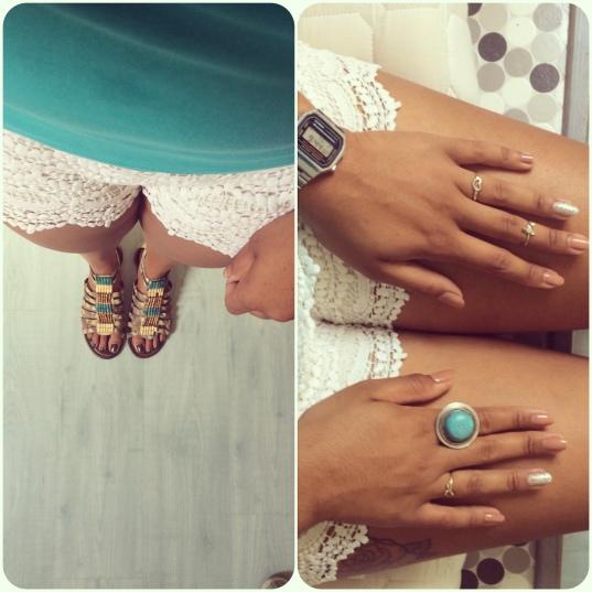 lookbook-top-bleu-azur-turquoise-halle-casio-montre-nails-bague-mint-blanc-short-kiabi-sandales-dentelles-crochet