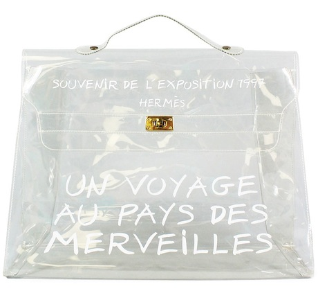 Hermes-Clear-Vinyl-Kelly-Souvenir-De-LExposition-1997-Beach-Tote-Handbag