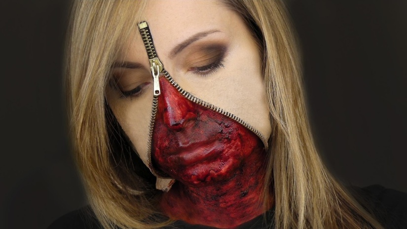 Unzipped Zipper Face Makeup 2